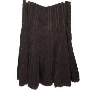 CAbi Brown Corduroy Long  Skirt Bottom Raw Hem